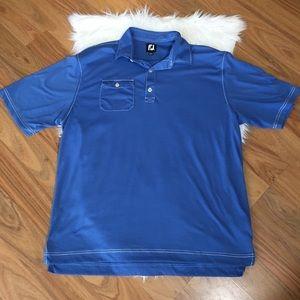 FootJoy blue polo shirt with white stitching, XL